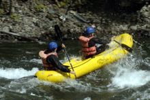 2 person mini-rafts on the Clearwater River, BC